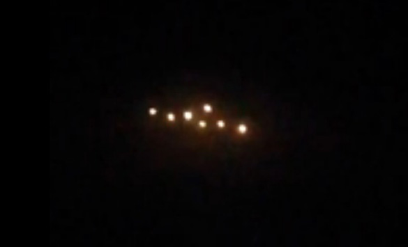 Close-up of the mysterious lights from a still of the UFO video. (Credit: Wales Online)