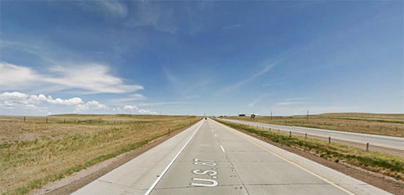 Witnesses northbound along I-25 about 10 miles south of Cheyenne were startled when the object dropped down directly above them on March 6, 2014. (Credit: Google)