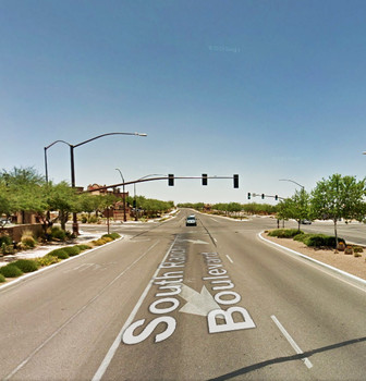 A 'glowing vertical cylinder' was reported at Sahuarita, AZ, on March 12, 2014. Credit: Google.