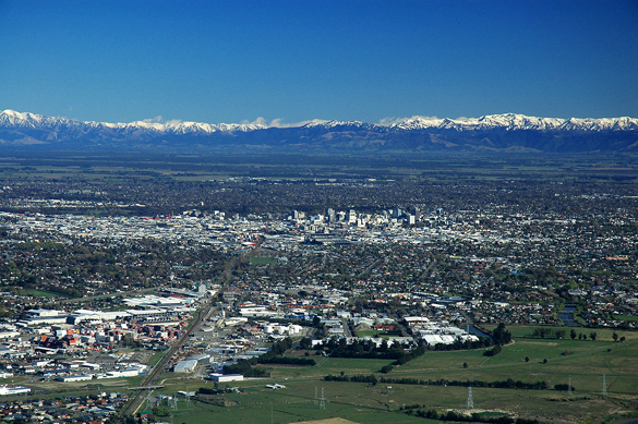 A New Zealand witness said the triangle UFO had blue lights. Pictured: Christchurch, New Zealand. (Credit: Wikimedia Commons)