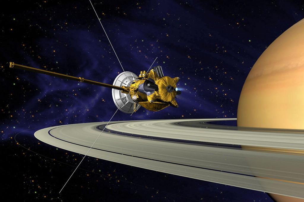 Artist's impression of Cassini in orbit around Saturn. (Credit: NASA)