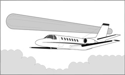 Sketch of the Cessna 550 (Citation II) at the time the elongated gray UFO flew parallel to it for 2 min.