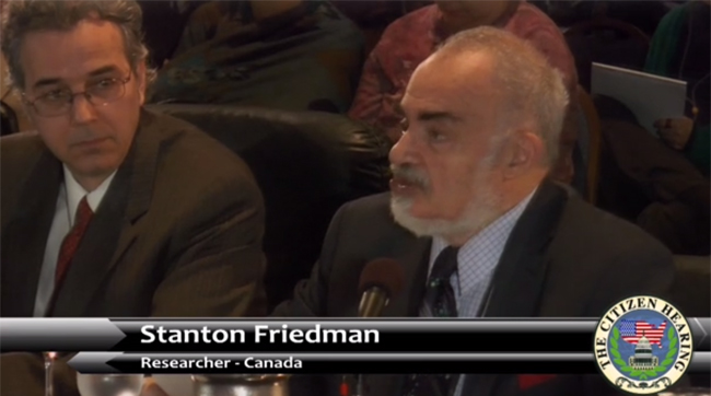 UFO researchers Richard Dolan and Stanton Friedman at the Citizen Hearing. (Credit: CHD)