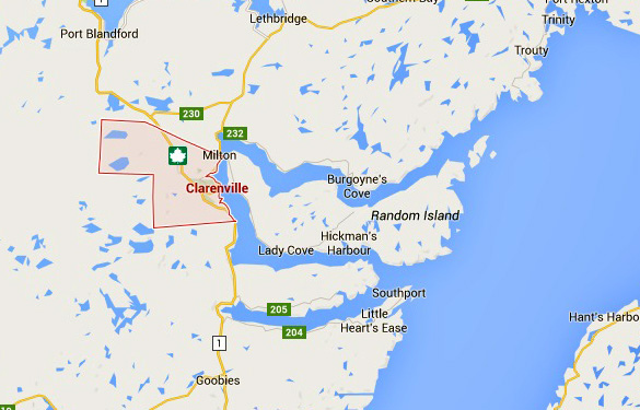 Map of Clarenville and Random Island. (Credit: Google Earth)
