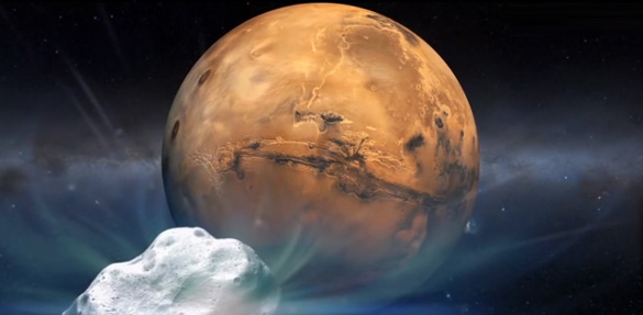 Artist's concept of comet Siding Spring (C/2013 A1) heading toward Mars. (Credit: NASA)