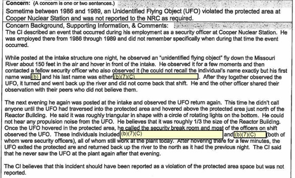 Excerpt of Nuclear Regulatory Commission UFO report. (Credit: Nuclear Regulatory Commission)