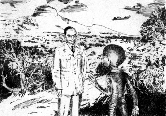 Drawing of Corso meeting an Extraterrestrial (credit: Baiata Collection)