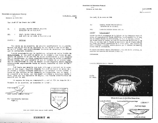 Two official reports from Police Sgt. Elias Sibaja to his superior, Col. Marino Donato, regarding the Jan. 1980 UFO sightings, plus Sibaja's original sketches and reconstruction of the UFO which stopped his police car on Jan. 17, 1980. (image credit: Huneeus Collection) Click image to enlarge.