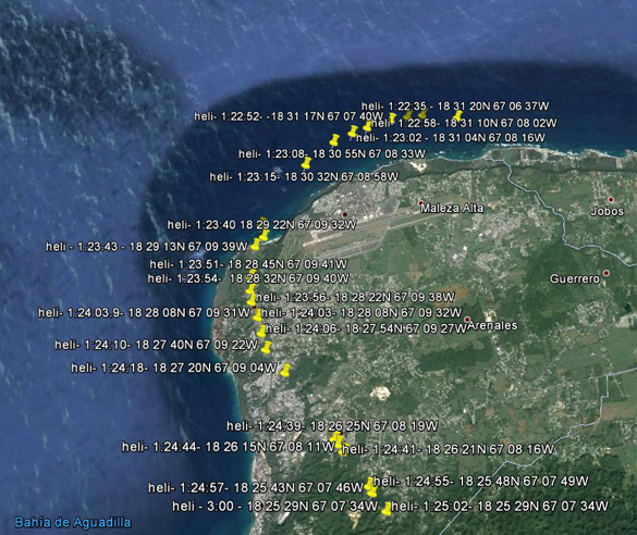 The flight path of the DHC-8 during the filming of the unknown object. (Credit: SCU)
