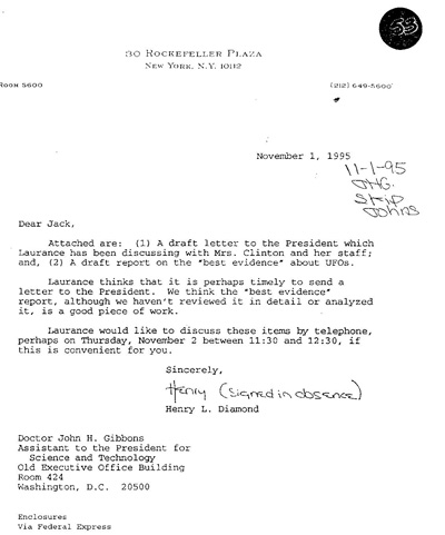 Letter from Laurence Rockefeller's lawyer, Henry Diamond, regarding Rockefeeler's correspondence with the Clinton's about UFOs. (Credit: Clinton Library/Grant Cameron)