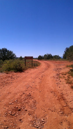 Dirt road leading to the ranch.