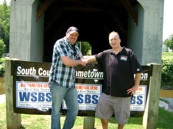 Country music artist Donny Sawyer and WSBS Radio's Jesse Sawyer at the monument dedication. (Credit: Thom Reed/Facebook)