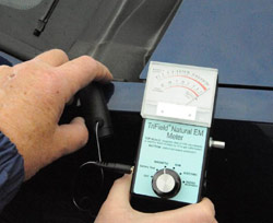 EMF reading taken 36 hours after the event pegs the needle on the tri-field meter. (image credit: MUFON)