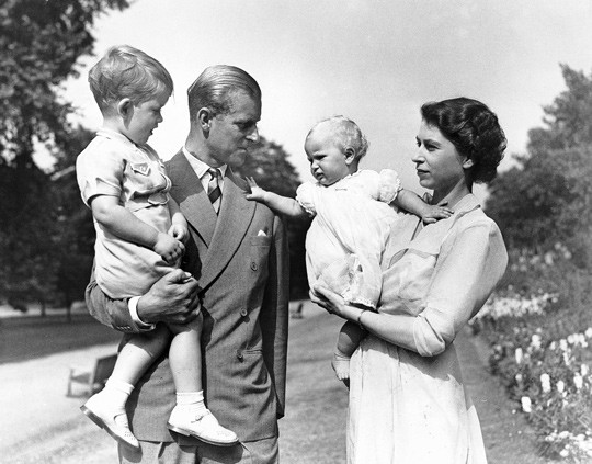 Elizabeth II with (from left) Prince Charles, Prince Philip, and Princess Anne. (image credit: Encyclopedia Britannica)