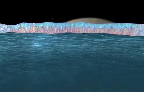 Image depicting Europa's ice crust and alien ocean below. (Credit: NASA/JPL)