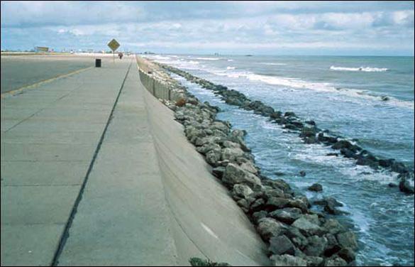 The Galveston Seawall. (Credit: USGS)