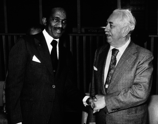 Prime Minister of Grenada, Sir Erich Gairy, with the camerman Colman von Keviczky. (image credit: ICUFON Archives)