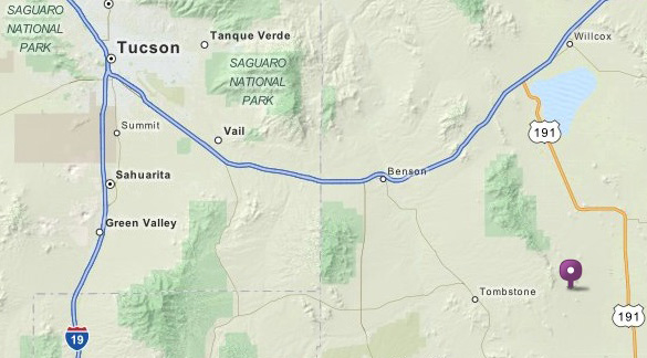 Map of Gleeson in relation to Tucson. It is about 100 miles to the southeast. (Credit: Mapquest)
