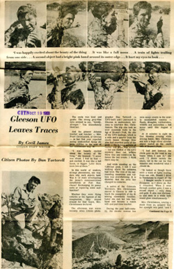 UFO story as seen in the Tucson Citizen in 1968.