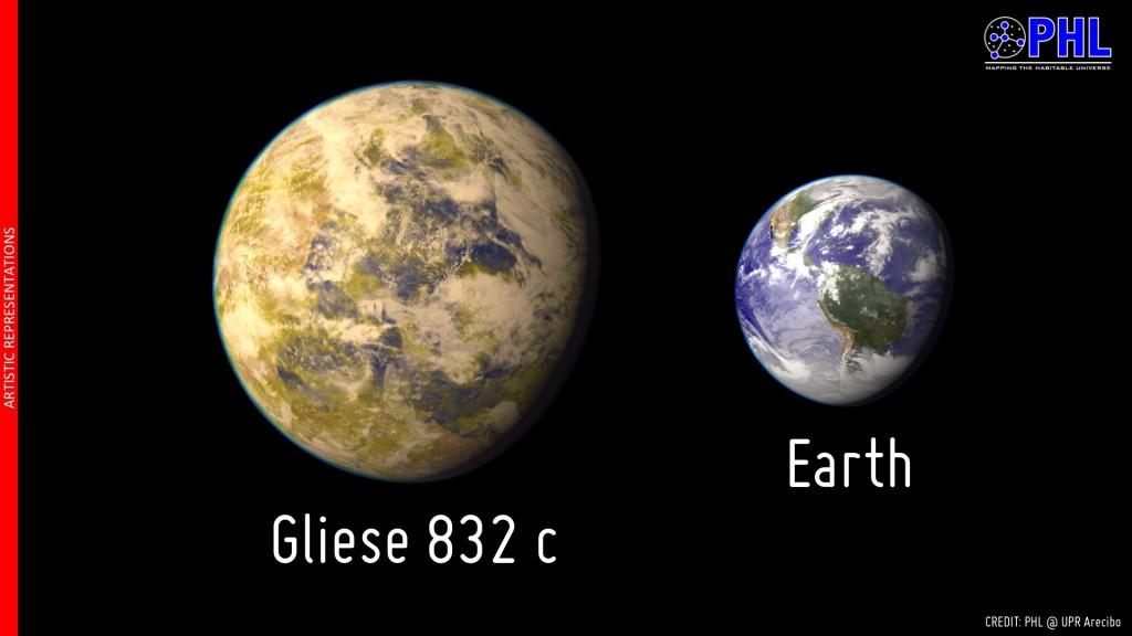 Gliese 832c compared to Earth