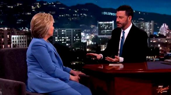 Hillary Clinton talking UFOs with Jimmy Kimmel. (Credit: Jimmy Kimmel Live)