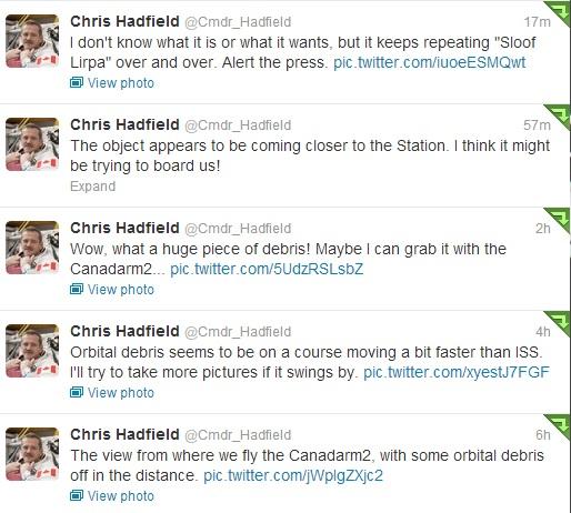 Hadfield UFO Tweets