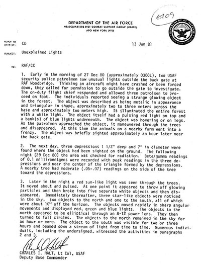 Memo written by Col. Halt related to the incident that was leaked to the press.
