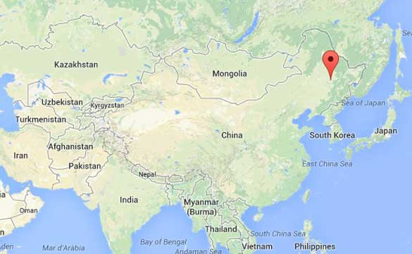 Map of Heilongjiang, China in relation to Russia and Kazakhstan. (Credit: Google Maps)