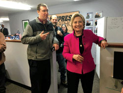 Daymond Steer with Hillary Clinton at The Conway Daily Sun editorial board meeting. (Credit: The Conway Daily Sun)