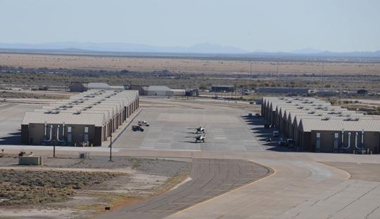 The hangars at Holloman AFB (image credit: USAF)