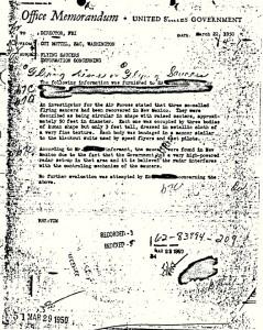 Hottel FBI UFO Memo. Click to enlarge.