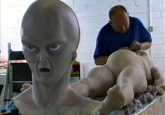 John Humphreys creating the alien prop for the movie.