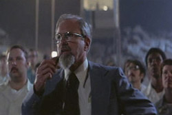 A still from J. Allen Hynek's cameo appearance on Spielberg's Close Encounters of the Third Kind.