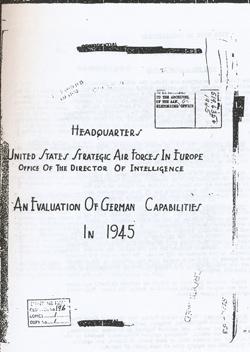 Evaluation of German Capabilties 1945