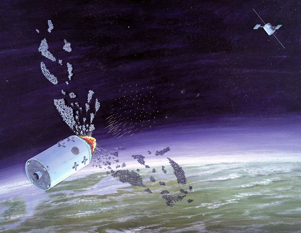 DIA artwork showing their best guess at the layout of the Soviet IS anti-satellite weapon. (Credit: Defense Intelligence Agency)