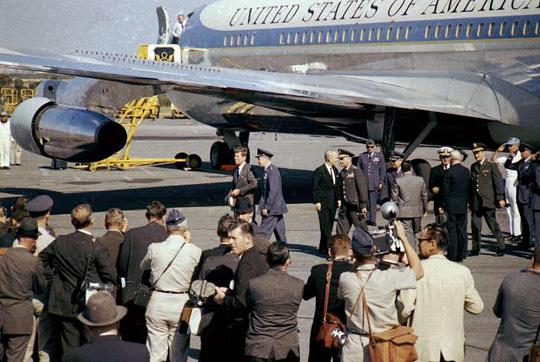 President John F. Kennedy and Air Force One at Homestead Air Force Base. (image credit: Doug Mathews/ Atterbury-Bakalar Air Museum)
