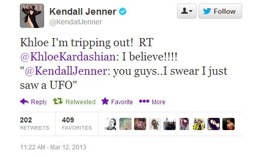 Kendall Jenner UFO Tweet 2