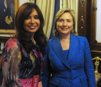The president of Argentina, Cristina Fernández de Kirchner with Hillary Clinton. (image credit: Govt. of Argentina)