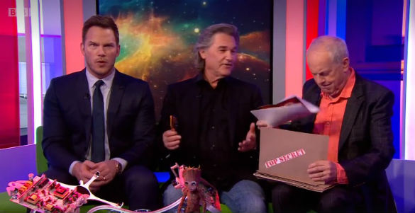 Chris Pratt reacts to Kurt Russell's UFO revelation. (Credit: The One Show)