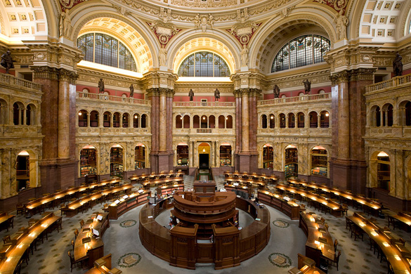 Main reading room of the Library of Congress Thomas Jefferson Building. (Credit: Carol M. Highsmith/Library of Congress)