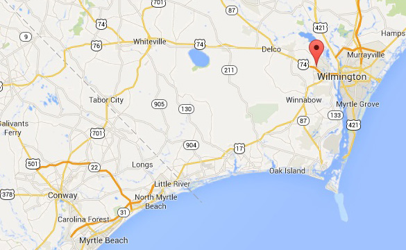Map of Leland (red marker) in relation to Wilmington and Myrtle Beach. (Credit: Google Maps)