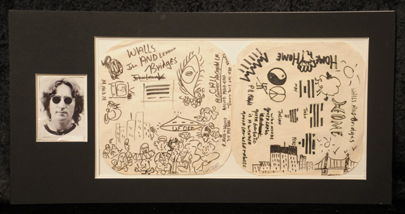 John Lennon doodles auctioned off on March 21, 2014. (Credit: liveauctioneers.com)