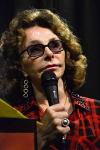 Researcher Linda Howe introducing Burroughs and Frascogna at the 2015 International UFO Congress. (Credit: Carlo Petrick)
