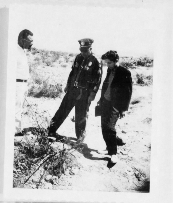 Lonnie Zamora (center) with investigators. (Credit: CIA)