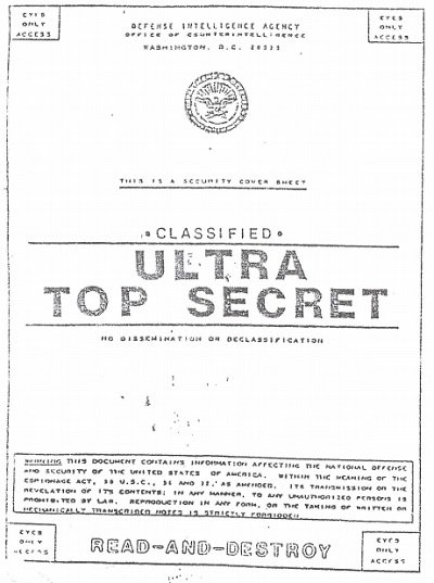 Cover page of alleged documents on ET crashes and alien being recoveries. Click image to see files.