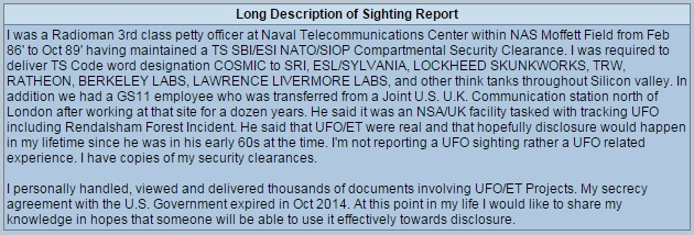 MUFON Report from the Case Management System. (Credit: MUFON)