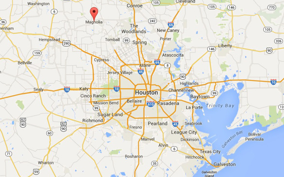 Map showing Magnolia's proximity to Houston. (Credit: Google Maps)