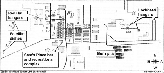 Map of Area 51 with the burn pits from 1994. (image credit: Las Vegas Review-Journal)