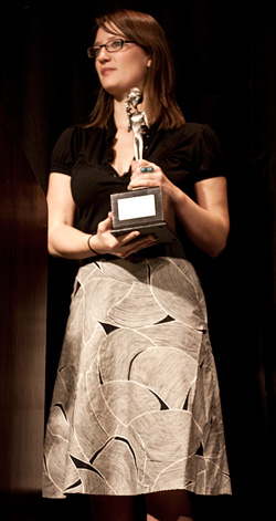 Maureen with the coveted EBE Statuette. (image credit: Peter beste)