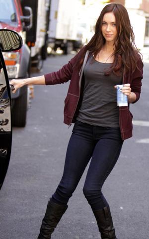 Megan Fox on set in New York during the filming of Teenage Mutant Ninja Turtles.